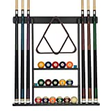 Billiards Xpress Pool Cue Rack - Pool Stick Holder Wall Mount With 16 Ball Holders & 6 Pack Of Chalk - Rubber...