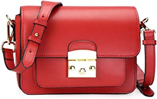 FengheYQ Women's Messenger Bag Simple and Versatile Compact Billiard Shoulder Slung Leather Handbag Size:22 * 15 * 9cm (Color : Red)