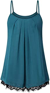 CCOOfhhc Women's Summer Sleeveless Pleated Front Chiffon Blouse Loose Layered Tunic Solid Color Tank Tops Plus Size