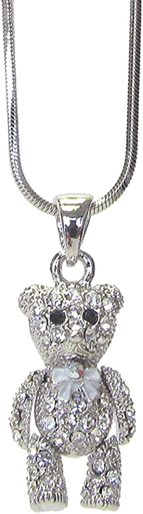 Fashion Jewelry ~ Crystal Teddy Bear Pendant Necklace for Women Girls Teens Girls Men Girlfriends Birthday All Occasions Gifts