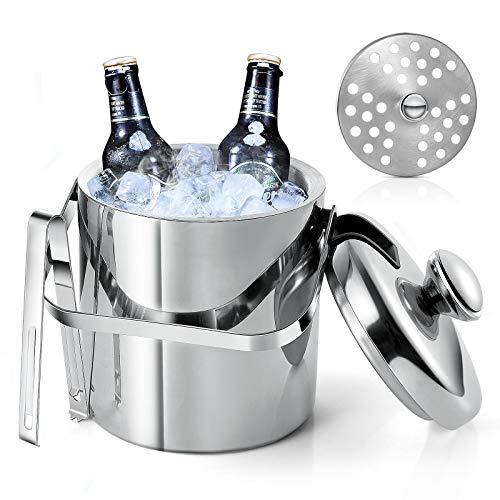 Diealles Shine Secchiello per Ghiaccio con Coperchio, Secchiello Ghiaccio Acciaio Inox A Doppia Parete, 1.3L Secchiello per Ghiaccio con Pinze per Tenere Freschi Birra, Champagne e Vino