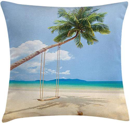 Ocean Throw Pillow Funda de cojín Foto de una Isla Tropical con Cocos, Palmeras y Columpio Playa exótica 18 'X 18'