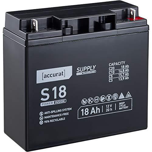 Accurat 12V 18Ah Blei-Akku AGM Blei-Batterie Zyklenfest Supply-Serie VRLA Versorgungsbatterie S18 (wartungsfrei)