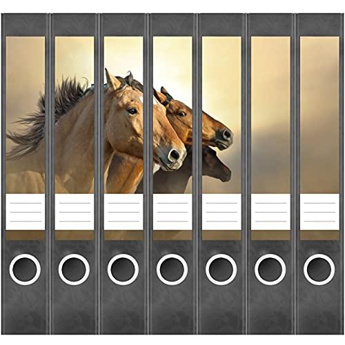 Etiketten für Ordner | drei Pferde | 7 Aufkleber für schmale Ordnerrücken | Selbstklebende Design Ordneretiketten Rückenschilder