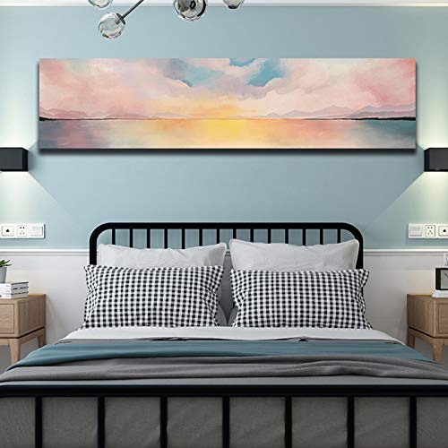 N / A Waterproof Canvas Wall Art Landscape Oil Painting Poster Picture Graphic Decoration Home Frameless 30x90cm