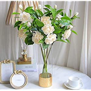 Skyseen 2Pcs Silk Gardenia Artificial Camellia Flower for Wedding Home Decoration (Champagne)