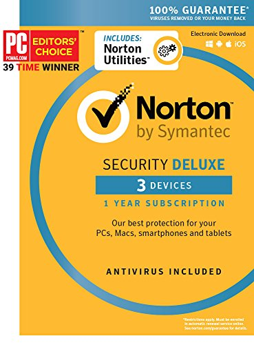 Norton Security Deluxe & Norton Utilities Bundle  3 Devices  1 Year Subscription - Product Key Card - 2019 Ready