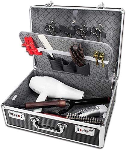 HUANGSHAM Herramientas portátiles de Aluminio Barber Maleta Caja de Herramientas de peluquería, Organizador del Caso de contraseña de Almacenamiento de Caja, Color: Plata Bolso Estilista Herramientas