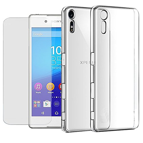 Eximmobile Silikon Hülle + Panzerfolie für Sony Xperia C4 / C4 Dual Handyhülle mit 9H Echt Glasfolie Schutzhülle mit Schutzfolie Handytasche Silikonhülle Tasche Hülle Bildschirmschutzfolie Bildschirmschutz