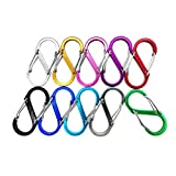 Nanaborn Carabiner Lightweight Aluminum Alloy S-Type Dual Locking Clips Keychain for Hiking Backpack Outdoor Camping Buckle(10pack)