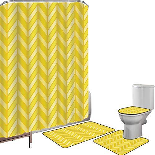 Juego de cortinas baño Accesorios baño alfombras Chevron amarillo Alfombrilla baño Alfombra contorno Cubierta del inodoro Motivo de Chevron retro vertical en tonos de color amarillo decorativo,aguacat