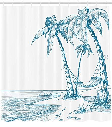 123456789 tropische palmbomen en hangmat Hawaiian Relax Image Print