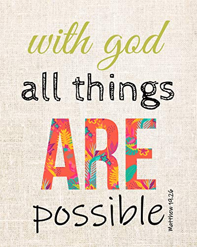 """With God All Things Are Possible""-Matthew 19:26 Bible Verse Wall Decor-8 x 10"" Scripture Art Print-Ready to Frame. Home-Office-Church-School Décor. Perfect Christian Gift to Remind of God's Grace!"