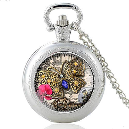 nobrand Taschenuhr, Sichel Hammer Taschenuhr Halskette Bronze Anhänger Kettenuhr Mann Frau, Silber 35mm