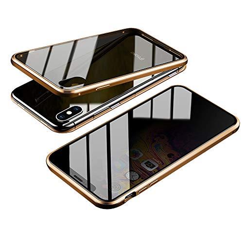 Jonwelsy Anti-Spy Handyhülle für iPhone XS Max (6,5 Zoll), 360 Grad Schutz Case, Privatsphäre Gehärtetes Glas Anti-Spähen Cover, Stark Magnetische Adsorption Metallrahmen Hülle (Gold)