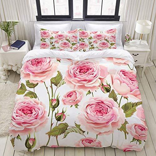 Ensemble de housse de couette d'entretien facile et 2 taies d'oreiller, vieux bourgeon de voeux floral rose Roses anglaises motif rose Nature Vintage jardin antique fleur blanche, élégante housse de c