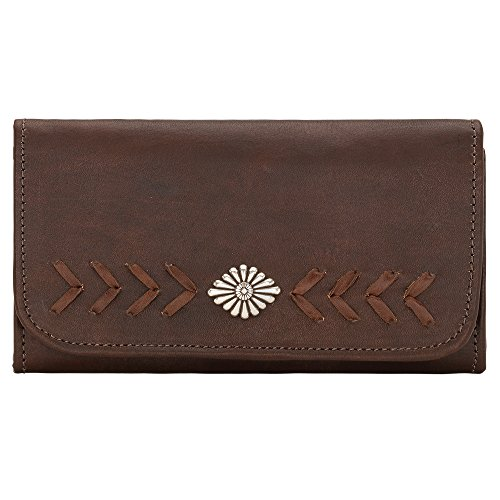 American West Women's Mohave Canyon Ladies' Chestnut Tri-Fold Wallet Chestnut One Size