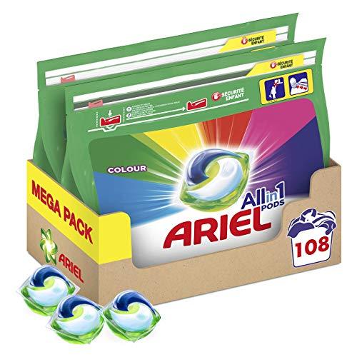 Ariel Pods Detergente Lavadora Cápsulas 108 Lavados (Pack 2 x 54), Color y Brillo