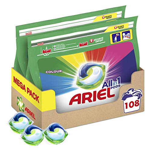 Ariel Allin1 Pods Color Detergente en cápsulas para la lavadora, ideal para mantener el color y brillo de tus prendas, 108 Lavados