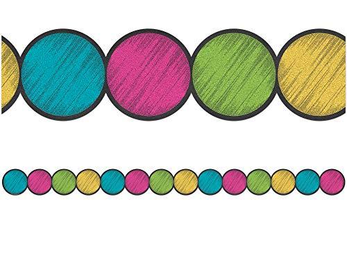 Teacher Created Resources 3498 Chalkboard Brights Circles Die-Cut Border Trim