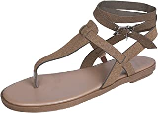 Women Casual T Strap Thong Sandals Adjustable Ankle Buckle Summer Beach Flat Shoes Flip Flops by RJDJ