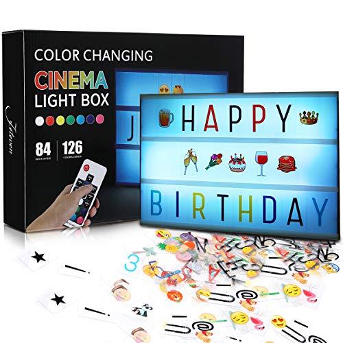 Jeteven Boîte Lumineuse Message A4 Lettre Lumineuse Tableau Lumineux 210 Lettres Coloris et Symboles flexible, 8 modes d'éclairage avec télécommande sans fil, pour Décorer Anniversaire Mariage Famille