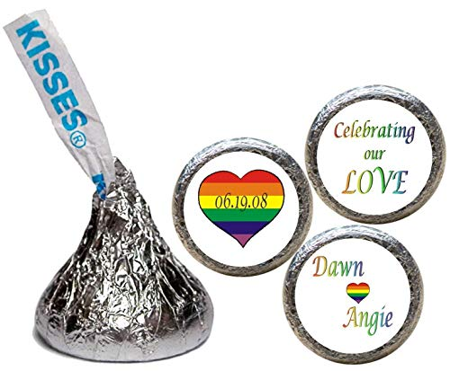 Gay or Lesbian Rainbow Wedding Stickers for the Bottom of Chocolate Kisses (Set of 108) (RRnbowHt)