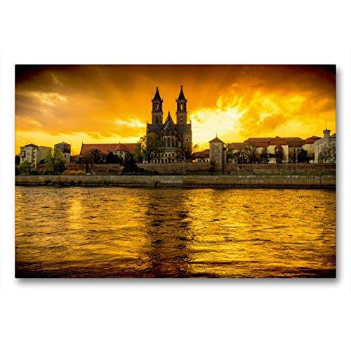 Premium Textil-Leinwand 90 x 60 cm Quer-Format Sundown an der Elbe | Wandbild, HD-Bild auf Keilrahmen, Fertigbild auf hochwertigem Vlies, Leinwanddruck von Lars Frohmüller