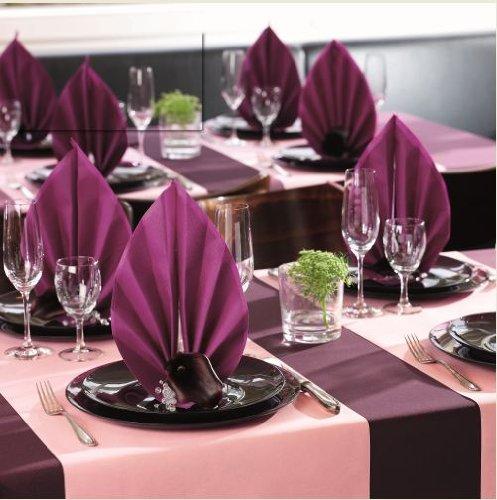 Unbekannt 50 Servietten, stoffähnlich, Airlaid 1/4-Falz 40 cm x 40 cm aubergine lila für Hochzeit und besondere Anlässe