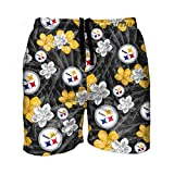 FOCO NFL Pittsburgh Steelers Hibiscus Floral Hawaiian Tropical...