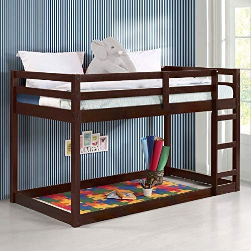 Low Bunk Beds Solid Wood Twin Over Twin Bunk Beds for Kids with Guard Rail and Ladder Kids Bedroom product image