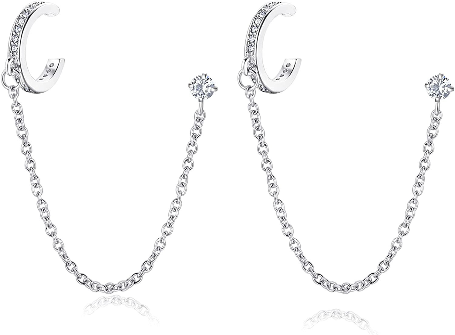 16g Cartilage Earrings Chain Double Piercing Stainless Steel CZ Double Hoop Earring with Butterfly Moon for Forward Helix 2nd and 3rd Piercing Holes