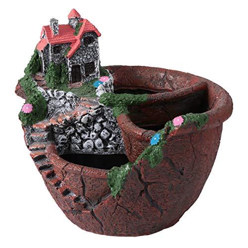 UPKOCH Maceta creativa para plantas Mini Fee Jardín Flores Plantas para DIY Interior Exterior Decoración Marrón
