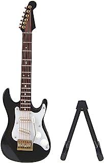 Hztyyier 5.5In Guitarra eléctrica Miniatura de Madera Mini Guitarra Modelo Pantalla Instrumento Musical Miniatura Casa de muñecas Modelo Decoración del hogar(Negro)