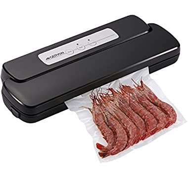 GERYON Vacuum Sealer Machine, Compact Automatic Vacuum Sealing System with Starter Kit of Saver Roll and Bags, Black
