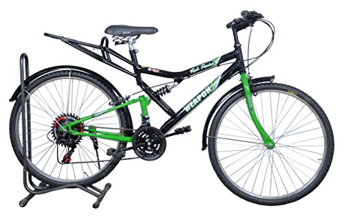 Atlas Weapon 26T Rear Suspension 21 Speed Mountain Bicycle for Adults (Black & Green)