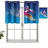 Hiiiman Sunshine Blockout - Cortina con cenefa colorida de un hombre joven snowboard sobre fondo azul con salpicaduras de pintura, juego de 2, 42 x 36 pulgadas para interior salón comedor