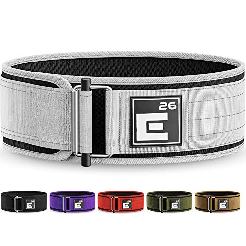 Element 26 Self-Locking Weight Lifting Belt | Premium Weightlifting Belt for Serious Crossfit, Weight Lifting, and Olympic Lifting Athletes (Small, White)