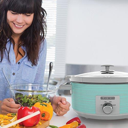 BLACK+DECKER Slow Cooker, 7 Quart (8+ Servings), Dishwasher Safe, Teal Wave, SC2007D