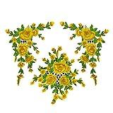 Tonpot Fleur Jaune à broder patches Sew on Patch badge Chiffon Autocollant pour DIY Sac de vêtements Jupe Manteau Accessoires Tissu fait à la main.