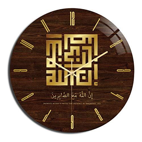 YIBOKANG Eid Al-Fitr Muslim Dimensional Pattern Acrylic Wall Clock Bedroom Living Room Clock Quartz Clock Table Home Decoration