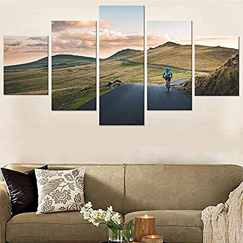 Dengjiam Hauptdekoration Bilder Moderne Wohnzimmer 5 Panels Berglandschaft Rennrad Wandkunst Hd Gedruckt Poster Malerei