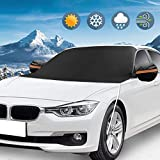 KKTICK Windshield Snow Cover, Ice Snow Frost Cover with Rearview Mirror Covers & Hooks, Windscreen Winter Protection Cover Universal Fit for Most Vehicles, Cars Trucks Vans and SUVs (85 x 50 inch)