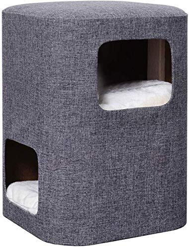 Kratzbaum, Kratzturm Cat Condo Kleine Katze Klettergerüst Bequemer Katzenstreu mit abnehmbarem waschbarem Kissen Sofahocker Sisal Cat Scratching Board Indoor Brown