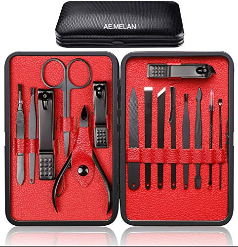 NA Manicure Kit Nail Clippers Set Professional Pedicure 15 Piece Black Stainless Steel Makeup Grooming Set Cutter Ear Pick Tweezers Scissors Nail File Gift for Man & Women (Black/Red_15in1)