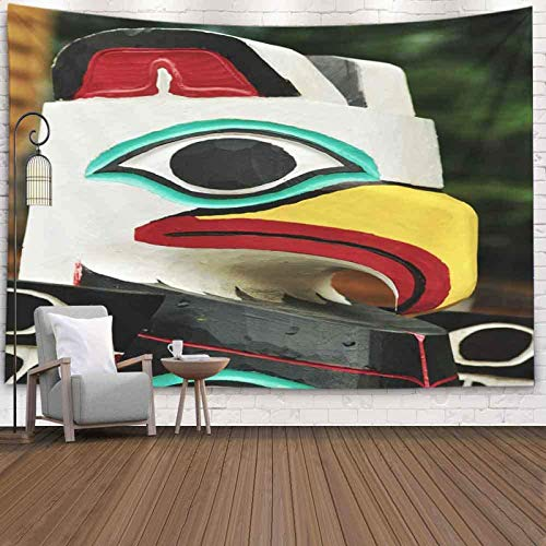 College Wall Decor,Room Decor for Men Closeup Eagle Totem Pole Vertical Alaska Tapestries Wall Hangings Inhouse,Wall Hanging Decor