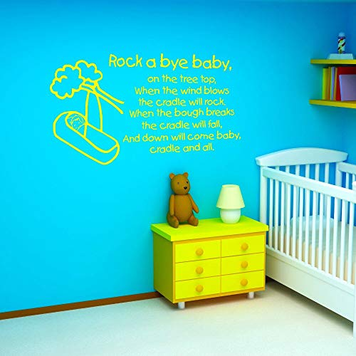 ONETOTOP Rock A Bye Baby Wall Sticker Quote Nursery Rhyme Kids Nursery Non-Toxic PVC Text Wall Sticker