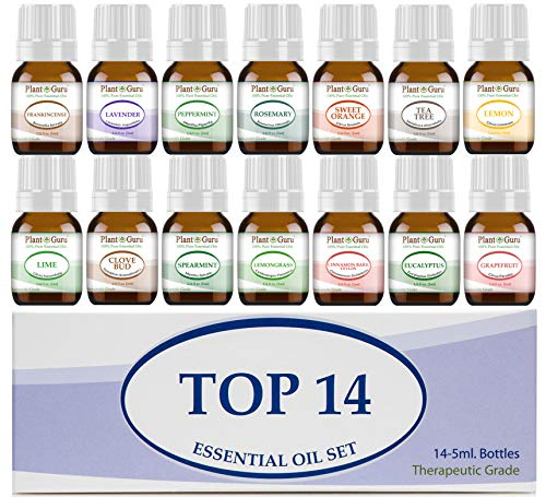 Essential Oil Set 14-5 ml Therapeutic Grade 100% Pure Frankincense, Lavender, Peppermint, Rosemary, Orange, Tea Tree, Eucalyptus, Grapefruit, Lemon, Lime, Clove, Spearmint, Lemongrass, Cinnamon