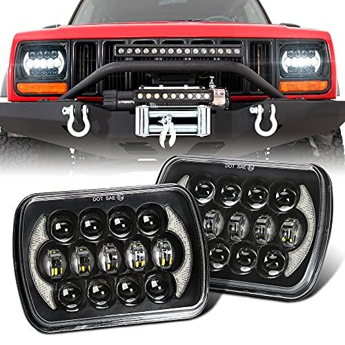 SPL 105 W, hellste Cree-LED-Scheinwerfer, 12,7 x 17,8 cm, versiegelter Strahl, H4-Stecker H6054 H5054 mit Tagfahrlicht, kompatibel mit Jeep Wrangler YJ Cherokee XJ S10 Blazer, LKW, Ford Van (schwarzes Paar)