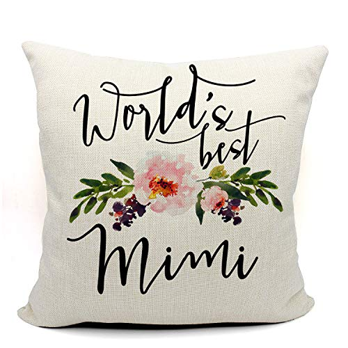 Mancheng-zi World's Best Mimi Throw Pillow Case, Funny Mimi Gift, Grandma Mimi Gift, Gift for Mimi, 18 x 18 Inch Linen Cushion Cover for Sofa Couch Bed